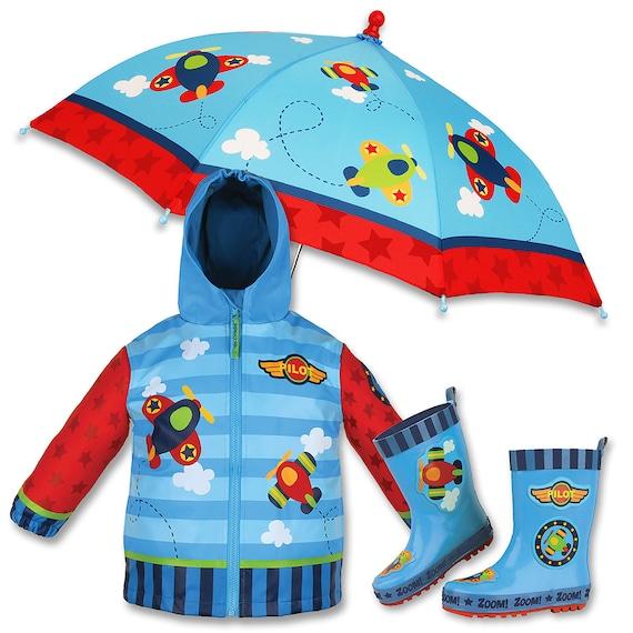 3 Pieces Set Stephen Joseph Airplane Rain Gear, Umbrella, Rain Coat and Rain Boots.