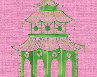 Pink Pagoda Art, Preppy Wall Decor, Chinoiserie Pagoda, Green Pagoda Painting, Palm Beach, Hollywood Regency, Green Pagoda Art