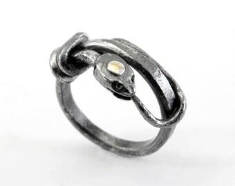 Ouroboros ring - iron, silver, 18k gold