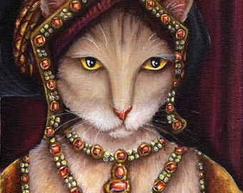 Cat Art, Jane Seymour, Henry VIII Queen Tudors 8x10 Art Print
