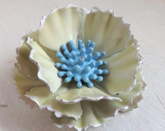 Vintage enamel flower brooch or pin two tone layered dimensional cream, white and blue