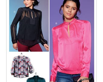 McCall's Pattern M7656 Misses' Tops with Neck Button, Yoke, Pleats and Sleeve Variations