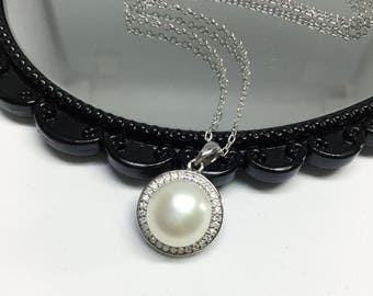 Blest Jewellery- Pearl Pendant - AAA 10 MM White Color Freshwater Pearl Pendant , Cubic Zirconia With 925 Silver,18 Inches 925 Silver Chain