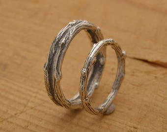 Matching Twig Wedding Bands, Tree Branch Rings, Sterling Silver His and Hers Promise Rings 5mm and 2.5mm wide, Unique Bridal Set, BE114