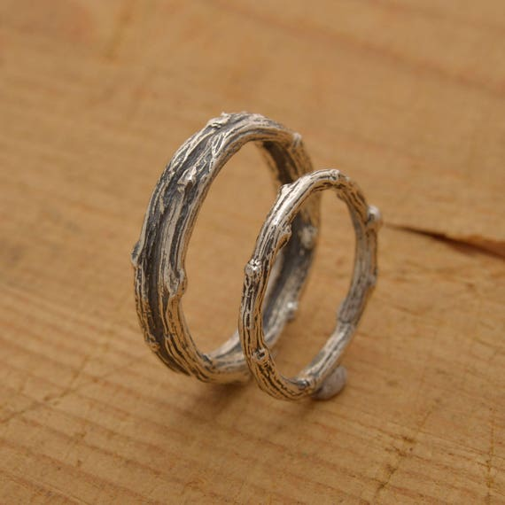 branch wedding ring matching twig wedding bands tree branch rings sterling 2055