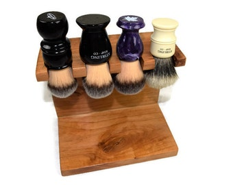 Men's Custom Wood shaving brush stand 4 brush slots, Fathers day gift, gift for dad, Christmas gift