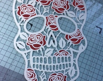 Sugar skull and roses papercut