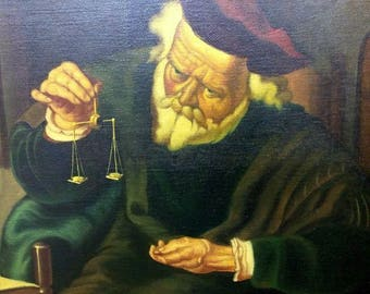 Old Vintage Oil Painting Portrait of an Old Elderly Man Gold Balance Scale Copy