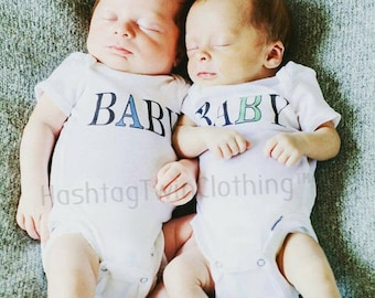 Baby A Baby B  Twin A  Twin B  Twins  Twin Mom  Twin Babies  Newborn Twin Gift  Mom of Twins  Identical Twins  Fraternal Twins  Twin A and B