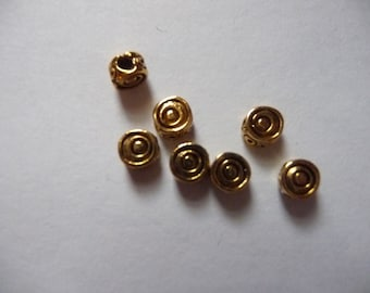 SALE!! Bead, Antiqued, Gold-Plated, Pewter, Tin-Based Alloy, 5mm, Round, Coil, Pack Of 7 beads. SALE!!