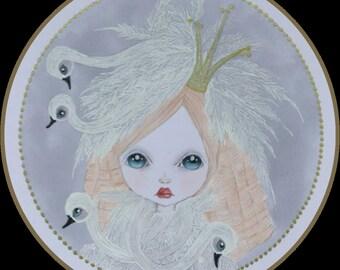 Original art swan princess lowbrow fantasy art
