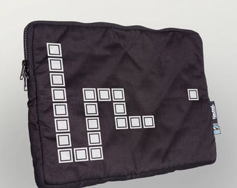 "Laptop bag 13 """" Pixel Snake ""organic cotton Fairtrade"