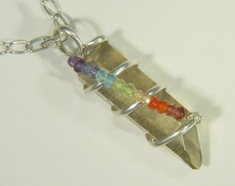 Sterling Silver Wire Wrapped Champagne Aura Quartz Pendant with 7 Chakra Gemstones 0401E abe