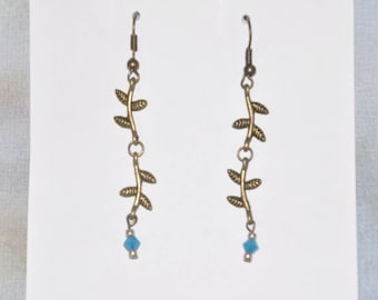 Earrings Brass Woodland Vine Blue Crystal Leaf Branch Turquoise Tree Opaque #E18b One Of A Kind