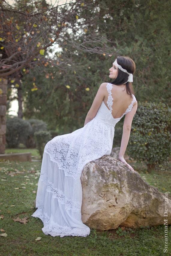 White wedding dress lace wedding dress bohemian wedding like this item junglespirit Image collections