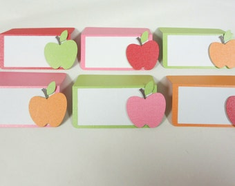 READY TO SHIP Apple Food Buffet Tents / Place Cards Birthday Party Shower Set of 6 Orange Green Pink Red