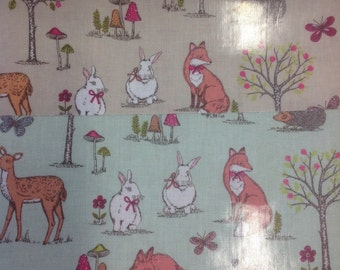 Woodland animals pvc coated 100% cotton fabric in taupe or duck egg by the half metre