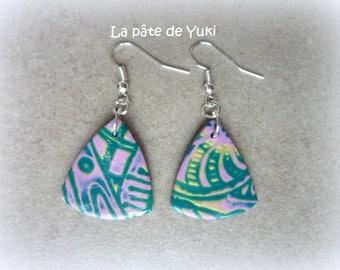 Triangular earrings pink blue handmade polymer clay