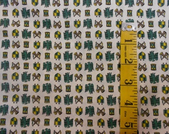 Vintage Cotton Fabric Off White with Green Gold Eagles Shields Bugles 2 Yards 718E