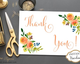 INSTANT DOWNLOAD - Orange Yellow Floral Thank You Note - Floral Thank You Card - Watercolor Thank You - 0146 - 0158