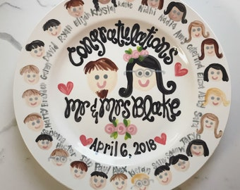 Teacher wedding shower gift  Plate Personalized and customized with Class Faces GREAT TEACHER GIFT personalized