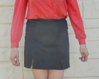 Vintage 90s Black Mini Skirt/ Goth /Rocker/ Secretary Skirt