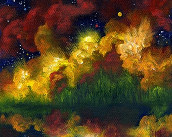 Abstract Painting, Abstract Landscape, Night Sky, Moon,  Oil Painting, Home Decor, Wall Decor
