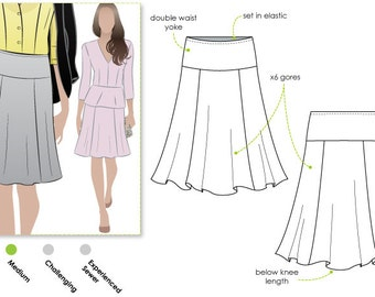 Style Arc Sewing Pattern - Gorgeous Gore Skirt - Sizes 16, 18 & 20 - Downloadable PDF Sewing Pattern