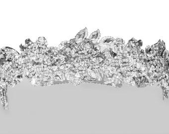 Bridal crown, swarovski crystal wedding crown, crystal wedding tiara, bridal tiara, corona, wedding crown, bridal headpiece, vintage,