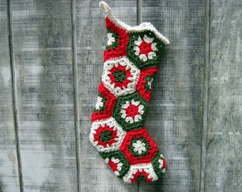 Crocheted Granny Square Christmas Stocking