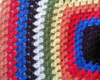 Large Rainbow Granny Square Afghan
