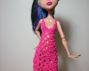 lacy and feminine dress done in bright pink