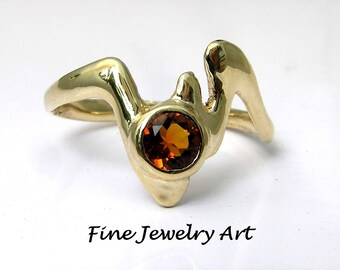 Unique Ring Design - Fluid Lightning Bolt Ring - 14k Gold & Fire Orange Citrine Gemstone - Nature Inspired Flowing Organic Abstract Ring EVB