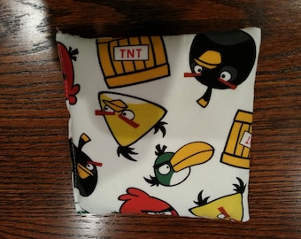 Boo Boo Packs,Ouch Pouch, Reuseable Hot or Cold Rice Packs, Kids Ice Pack, Rice Handwarmers, Heating Pad, Set of 2, Angry Birds Fabric !