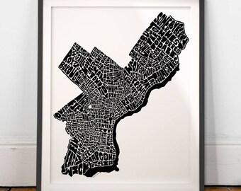 Philadelphia map art, Philadelphia art print, Philadelphia typography map, Philadelphia decor, Hand-drawn typography map series signed print