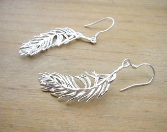 Silver Feather Earrings, Rustic Wedding Jewelry, Free Spirit Tribal Earrings, Silver Bridal Earrings, Silver Boho Earrings, Bridesmaid Gift