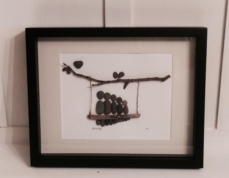 Family on a Swing PEBBLE ART FRAMED Large 11 x 14