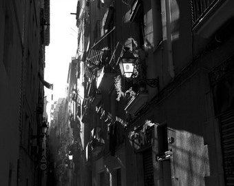 "Barcelona Black and White Photography, ""Barrio Gotico 1"", Photographic Matte Paper, Romantic Art, Architecture."
