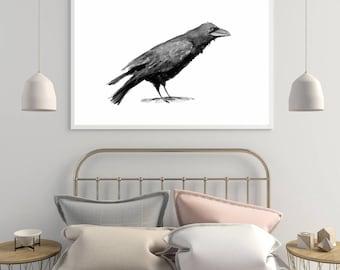 Crow Art - Crow painting - print - raven illustration -  wall art bird decor - crow painting - raven print