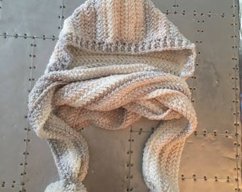 Adult Crochet Hooded Scarf with Pom Poms/Hooded Scarf/Scoodie