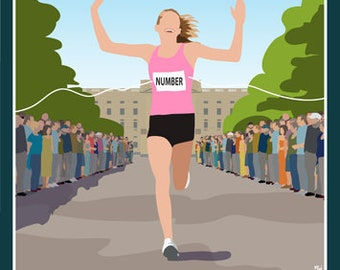 LONDON MARATHON. Female runner. Art print Travel/Railway Poster. Portrait A4, A3, A2, A1 in Retro style