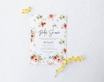 Bridal Shower Invitation - Floral Pink Garden Design