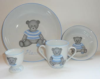 Set of Dinnerware personalized kids Teddy bear blue for birth or christening hand painted porcelain 4 items