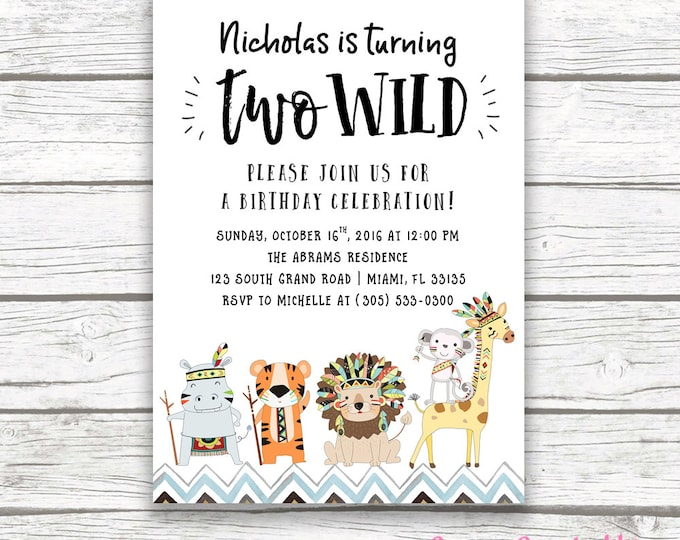 Two Wild Birthday Invitation, Safari Birthday Invitation, Tribal Birthday Invitation, Two Wild Boy Birthday Invitation, 2nd Birthday Invite