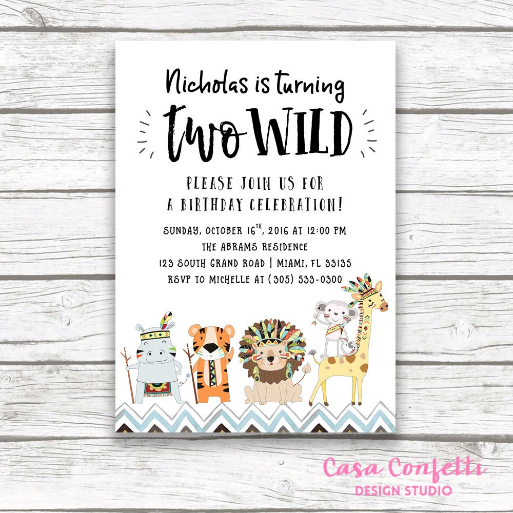Two wild birthday invitation safari birthday invitation tribal two wild birthday invitation safari birthday invitation tribal birthday invitation two wild boy birthday invitation 2nd birthday invite filmwisefo