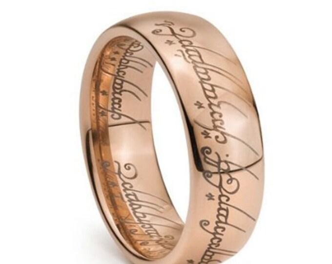Rose Gold Plated Elvish Script Tungsten Carbide Men & Women Laser-etched Wedding Band Ring - 7mm