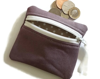 Purple canvas coin purse, change purse, zipped card pouch