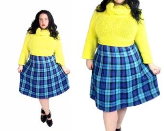 Plus Size Skirt / Vintage 1980's Plaid Skirt / Size XL / Vintage Skirt