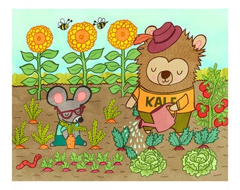 Garden Pals 8x10 or 5x7 Illustration Print