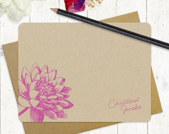 personalized note cards stationery set - LOTUS FLOWER BLOOM - set of 12 flat cards - floral - stationary - botanical